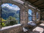 Private terrace with lake views