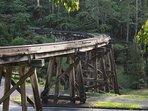 Famous trestle bridge five minute walk or 30 second drive away.