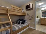 Custom bunks with a double bed on the bottom
