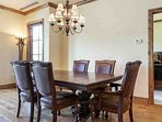 Enjoy family meals or games around the comfortable dining table with seating for 6 guests.