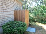 Enclosed outdoor shower with hot and cold water-14 Deer Run South Harwich Cape Cod New England Vacation Rentals