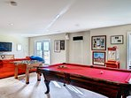 Fussball, pool table and shuffle board are just a few of fun indoor games.