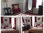 'The Abbey Room' very spacious and elegant featuring a queen size bed. Named after  'Downton Abbey.'