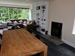Oak dining table and modern wood burning stove - wood provided!