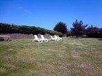 parc de 2000m² avec chaises longues privatives grande vue mer