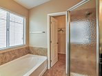 The master ensuite features a soaking tub.