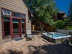 Hot tub on patio w views