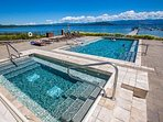 Beautiful Outdoor Pool and Hot Tub overlooking the lake!