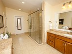Tile and walk in shower in master bath