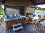 New, private hot tub and outdoor gas fireplace
