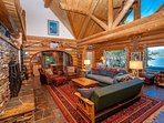 High ceilings and log beams throughout