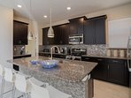 Granite Breakfast Bar w/Tiled Wall & Seating for 3