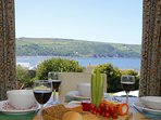 Gwbert holiday cottage - dining room with sea views