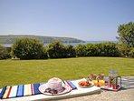 Teifi Estuary holiday home - lawn gardens and sea views