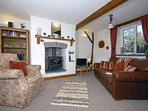 North Pembrokeshire cosy holiday cottage - lounge/diner with logburning stove