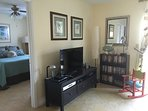 Media Center with 42' TV, DVR and DVD with library of movies.   Free Internet.