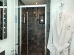 Ensuite shower room with heated towel rail, Egyptian cotton towels and bathrobes.