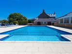 Heated outdoor pool at Polmanter Touring Park-available late May-mid September