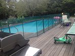 Deck, Pool with safety fence, gas grill, plasma cars, etc