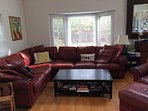 Living room, extra deep leather sectional