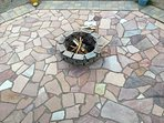 Warming the soul in the evening. The Flagstone patio fire pit as seen from the deck above.