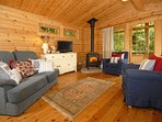 North Pembrokeshire log cabin near the beach - open plan living room with wood-burning stove