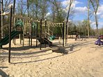 Playground with dinosaur, 7 minutes walk from our home.