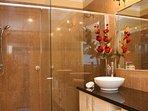 Bathroom unit 2. Double shower, double vanity.