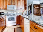 The galley style kitchen w/ upgraded apppliances