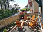 Front porch/patio off the Woodland Promenade with private fire pit to enjoy smores