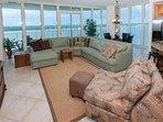Floor to ceiling windows overlooking Little Lagoon