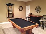 Full-size pool table and dry bar