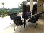 Lower level balcony and patio furniture.