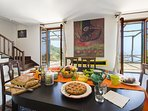 Living/dining area villa terralu with shared garden and pool holiday lettings sorrento coast tripadv