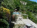 Shared solarium and pool at farmhouse where is located this villa with ocean view sorrento coastline