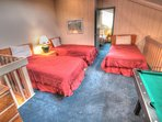Loft - The loft has 4 twin beds and a mini pool table.