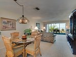There is a wonderful view of the Gulf from both the living and dining areas.