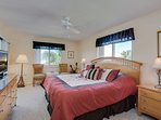 Master bedroom has a view of the Gulf, king size bed, big screen tv and wifi.
