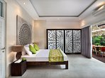 A mix of French and Balinese style... Master bedroom (Super King-size)