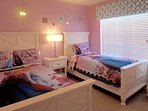 New Frozen Theme Room for Girls with one Full size and one Twin size bed
