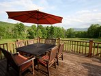 8 Seat Outdoor Dining and Parasol overlooking Windham Mountain