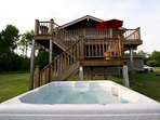 Back Deck of Le Chalet Montreuil from 8 Seater 50 Jet Hot Tub