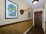 Entry way with locally inspired decor.