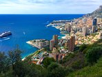 Monaco viewed from the Corniche. Worth a day visit to Aquarium, Chateau,  Harbour and great Shops