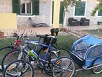 We have got 4 bikes for exploring area with equipment for kids free for you.
