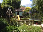 back garden and play house