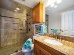 Lovely remodeled en suite master bathroom.