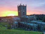 Sunset behind St Davids Cathedral