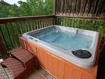 5-6 person Hot Tub with privacy wall with a beautiful view of the Smoky Mountains.