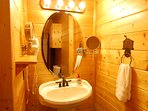 Lower Level Bathroom: Pedestal Sink, wall mounted Hair Dryer, Wall Mounted Lighted Makeup Mirror.